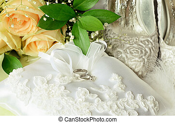 Wedding and engagement rings with accessories