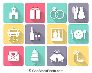Wedding and love icons - Wedding and love celebration icons...