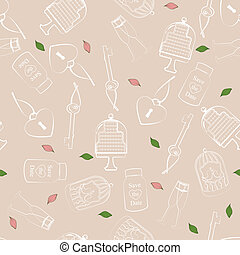 Wedding and Valentines seamless pattern