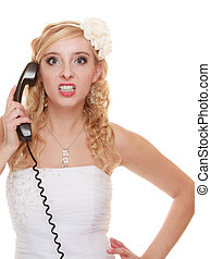 Wedding angry woman bride talking on phone.