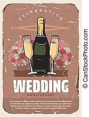 Wedding anniversary party retro invitation design