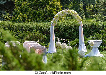 Wedding arch. Beautiful  Ceremony