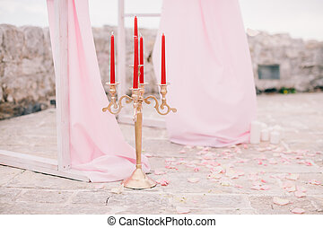wedding arch decor with candles