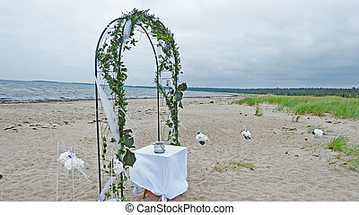 Wedding Arch on the coast of sea