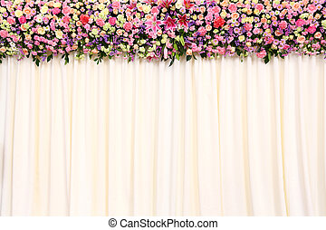 Wedding backdrop with flower and cloth