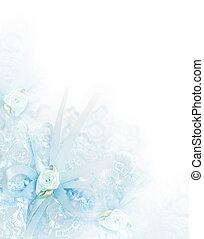 Wedding background with  blue bridal garter