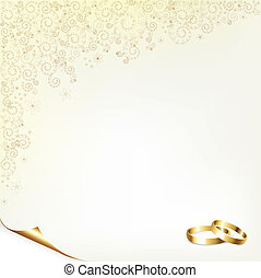 Wedding Background With Gold Rings, Vector Illustration