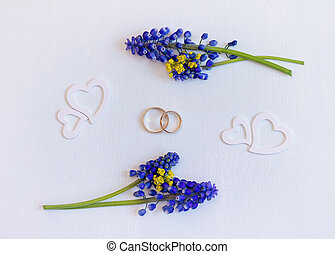 Wedding background with rings and hearts. Top view.
