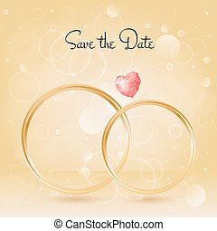 Wedding Background with rings and gemstone, bokeh