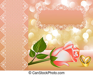 wedding background with rose by pearl by tape and ring