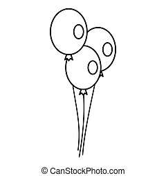 Wedding balloons icon, outline style