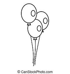 Wedding balloons icon, outline style