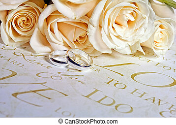 Wedding Bands - Bridal bouquet with wedding bands.