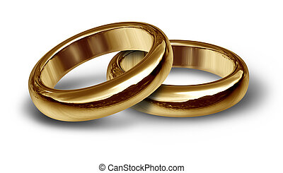 Wedding Bands For A Couple - Two gold wedding rings resting...