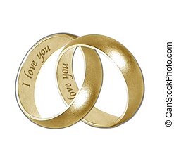 wedding bands gold i love you