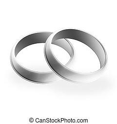 Wedding Bands - Illustration of silver/platinum/white gold...
