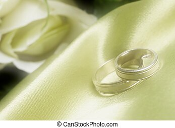 wedding bands on green satin in dreamy