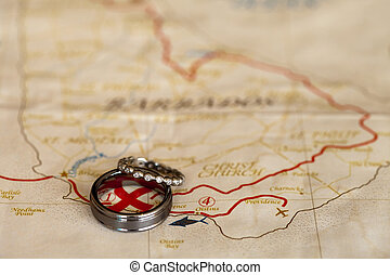 Wedding bands on map