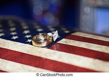 Wedding Bands - A close-up shot of a beautiful wedding ring...