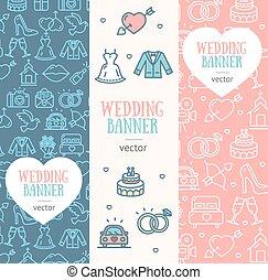 Wedding Banner Flyer Vertical Set. Vector