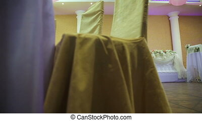 Wedding banquet hall interior. - Wedding decorations with...