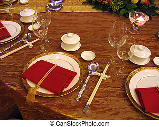 Wedding banquet table setting. Chinese ... & Chinese table setting. Fancy folded napkins and chopsticks... stock ...