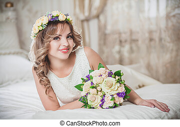 wedding beautiful bride bridal bouquet