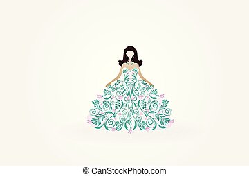 Wedding beautiful bride greeting card invitation symbol icon