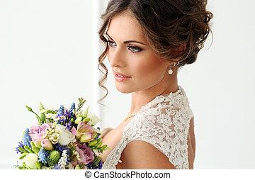 Wedding. Beautiful bride - Wedding. Attractive bride with...