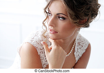 Wedding. Beautiful bride - Wedding. Attractive bride with...