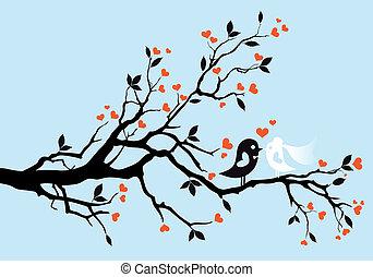 wedding birds, vector - wedding birds kissing on a tree,...