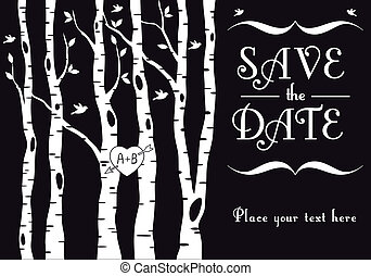 wedding, birke bäume, einladung