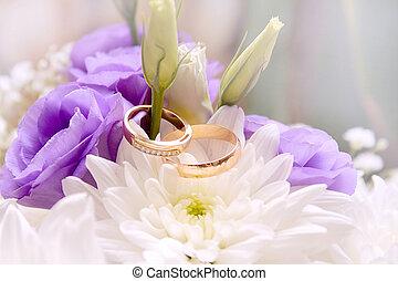wedding, blume, ringe, ans