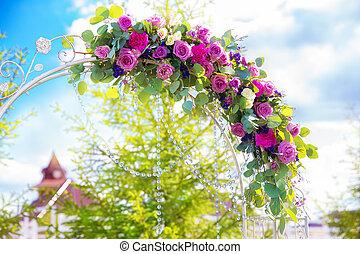wedding, bogen, floristic, ceremony., weinlese, ...