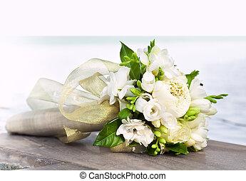 Wedding bouguet - Weddind white bouquet near the beachfront