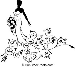 Wedding Bouquet Abstract Bride Silhouette
