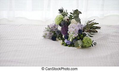Wedding Bouquet Beautiful on white bed