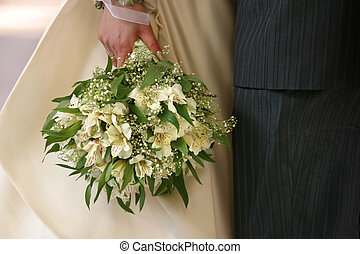Wedding bouquet - Bouquet of flowers on a background of a...
