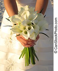 Wedding bouquet - bride holds beautiful bouquet of white...
