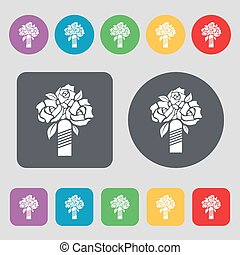 wedding bouquet icon sign. A set of 12 colored buttons. Flat design. Vector