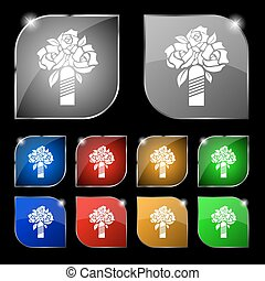 wedding bouquet icon sign. Set of ten colorful buttons with glare. Vector