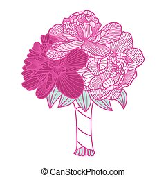 Wedding bouquet illustration made of peonies