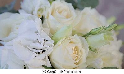 Wedding bouquet in a sofa, Wedding attributes. Full HD