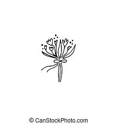 Wedding bouquet logo element - Vector hand drawn object,...