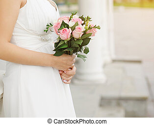 Wedding bouquet of a pink roses