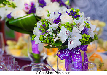 Wedding bouquet of beautiful purple