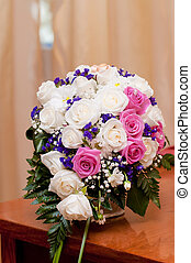 Wedding bouquet of beautiful roses