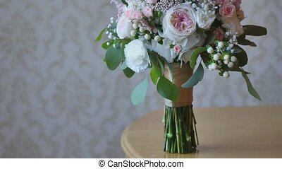 Wedding bouquet of bride - colorful flowers pink, white...