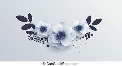 Wedding Bouquet of flowers anemones. Vector illustration of...