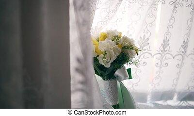 wedding bouquet of flowers on a uniform background